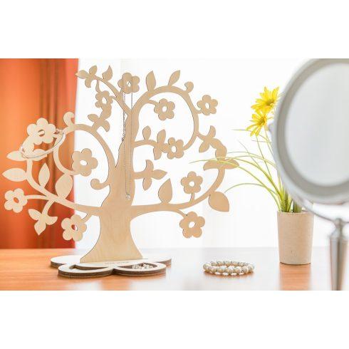 Nyírfából készült ékszertartó fa virágokkal
