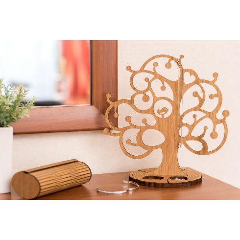 Krea-Wood tölgyfából készült ékszertartó fa madárkával, natúr színben