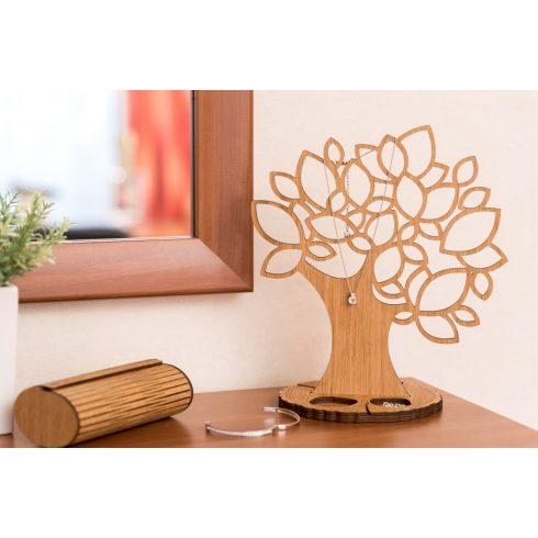 Tölgyfából készült ékszertartó fa levelekkel, natúr
