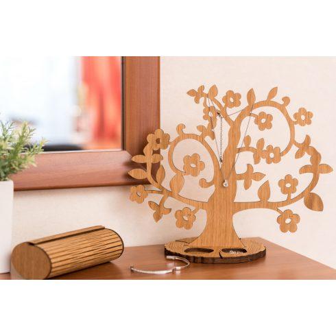 Tölgyfából készült ékszertartó fa virágokkal, natúr