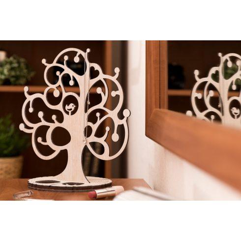 Tölgyfából készült ékszertartó fa madárkával, fehér színben