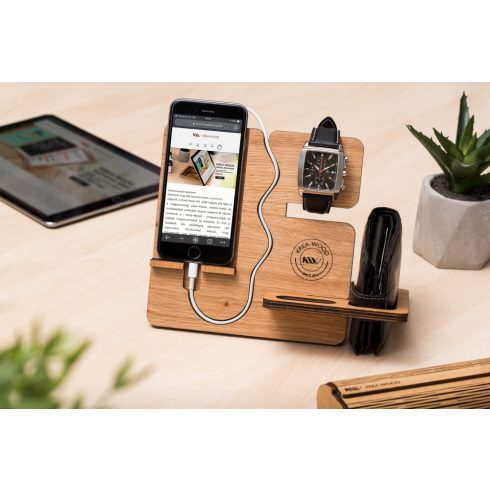 Krea-Wood tölgyfából készült telefontartó állvány, natúr színben