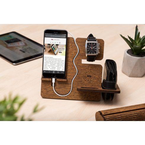 Tölgyfából készült telefontartó állvány, barna színben