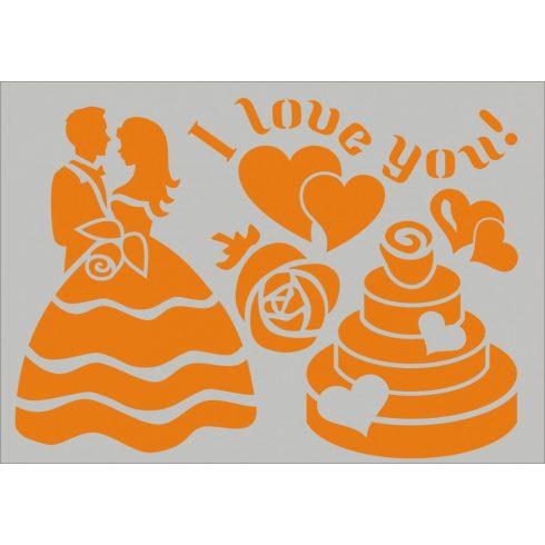 "Stencil sablon A5, ""I love you"""