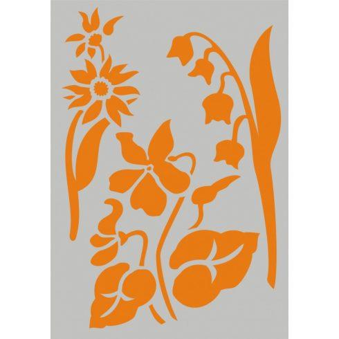 Stencil sablon A5, virágok