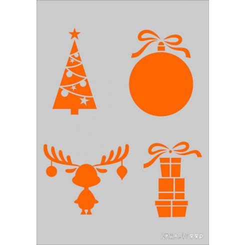 Stencil sablon A5, karácsonyi figurák