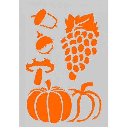 Stencil sablon A5, őszi gyümölcsök