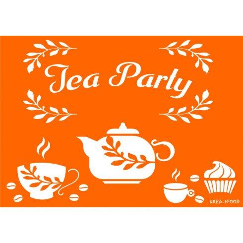 Stencil sablon A4, Tea Party