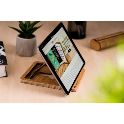 Krea-Wood tölgyfából készült tablet tartó állvány, natúr színben