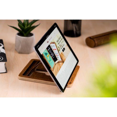 Krea-Wood tölgyfából készült tablet tartó állvány, barna színben