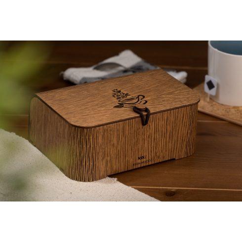 Tölgyfából készült teásdoboz teáscsésze motívummal, barna színben