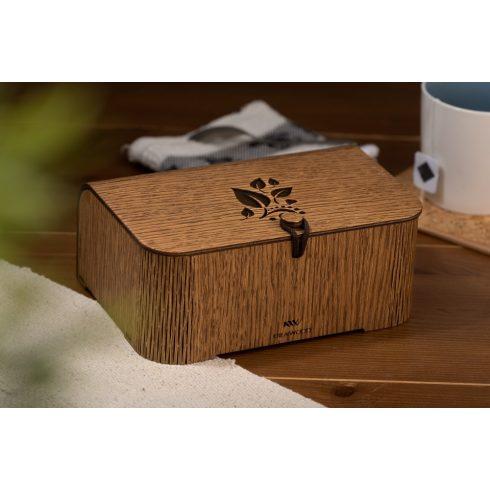 Tölgyfából készült teásdoboz tealevél motívummal, barna színben