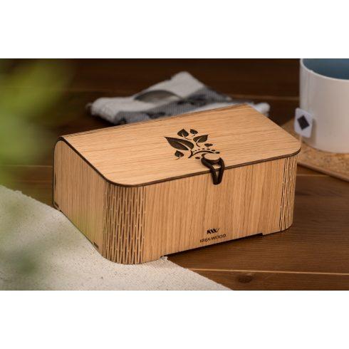 Krea-Wood tölgyfából készült teásdoboz tealevél motívummal, natúr színben