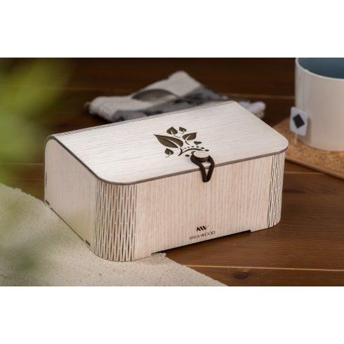 Tölgyfából készült teásdoboz tealevél motívummal, fehér színben